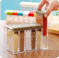 Wholesale Creative grid Plastic Seasoning box Stylish kitchen spice jar Simple Storage Box Transparent Storage Bottles