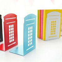 Wholesale Lovely large metal plate multicolor retro book book Bookends london phone booth iron bookend