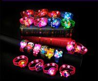 Wholesale Cheap Christmas Watches - Cheap Christmas Gift Toys Cartoon Luminous Wrist Band LED Watch Flash Wrist Bracelet Light Luminous Hand Ring Children Toys Monkey Bear 11