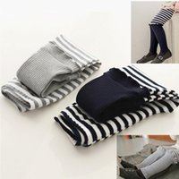 Wholesale Spring Clothes Arrival For Kids - Striped stitching lace leggings fashion Tights Pants for kids girls children clothing grey dark blue 2016 autumn new arrival 1 lot=5pcs