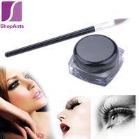 2 Pieces/Set beauty add - Hot Sale Sets Pro Waterproof Eye Liner Eyeliner Shadow Gel Makeup Cosmetic Add Brush Black Makeup Cosmetic Beauty Tool Set
