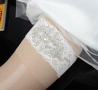 Wholesale Beautiful Women Wedding Lace Garters White Lace Rhinestone Adorned Bridal Leg Accessories Garter Cheap Sale From China