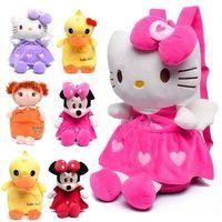 al por mayor estéreo de la felpa-2016 estéreo de la felpa hola preciosa bolsa de la escuela los niños del gatito de Mickey Minnie mochila escolar para chicos, chicas mochila para niños 1-4years