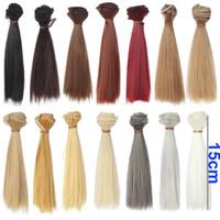 Wholesale hair refires bjd hair cm CM black gold brown khaki white grey color short straight wig hair for BJD diy