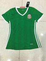 achat en gros de les femmes courtes vert-Benwon - 16 17 Mexique accueil football vert maillots extérieurs athlétiques manches courtes maillots de sport de qualité thai le football t-shirts fille des femmes