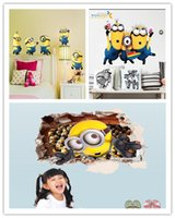 Wholesale minions movie wall stickers for kids room home decor diy pvc cartoon decals children gift d mural arts posters home decor