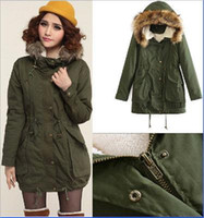 Wholesale 2016 New Winter Long Coats Women Jackets cotton Coat Large Fur Collar Thick Ladies Down Parkas army green casual Overcoat FS0704