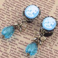 bead gauge - New Desgin Steel Dangle Blue Bead Pretty Girl Ear Plugs Flare Back Ear Gauges Piercing Expander Stretchers Jewelry