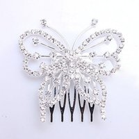 Wholesale Bridal Wedding Jewelry Crystal Rhinestone Butterfly Hair Comb Pin Clip Accessory