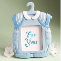 baby place clothes - Blue Clothes Design Picture Frame Place Card Holder Baby Boy Shower Favor Newborn Baptism Gift For Guest