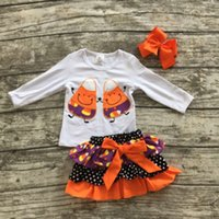 baby girl fall clothing - new orange Fall winter baby girls Halloween outifits Cndy Corn clothes party sets children top with skirts with matching bows