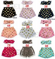 sequin elastic - 2016 new girls sequins polka dot shorts girl tassel short pants headbands set kids shorts Pom Pom shorts children shorts leopard outfits