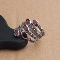 Wholesale fashion sterling silver red garnet stone women finger rings anillos mujer bague homme jewellery cute lady ring