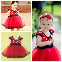 Spring / Autumn Mid-Calf Lace Girls Kids Baby Princess Xmas Polka Dot Minnie Mouse Dress Tutu 3-18M Christmas Party Clothing
