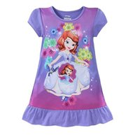 Wholesale Kids christmas pajamas baby girls Pajamas Kids Clothes Clothing baby sleepwear children cartoon dresses Frozen Elsa Anna Mermaid Sofia Snow