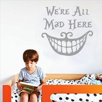 alice plane - Wholeslae We Are All MadH Here Alice in Wonde English Letter Quote Wall Stickers Home Bedroom Waterperoof Removable Wall Decor Wallpaper