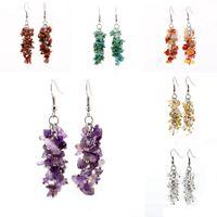amethyst chip earrings - Womens Fashion Gemstone Amethyst Crystal Chips Drop Dangle Hook Earrings Charms Jewelry