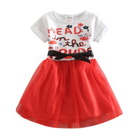 Wholesale 2016 New Summer Casual Girls New Kids letter printing sequins red chiffon skirt five pieces of a package the United States Free Shippi