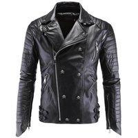 Wholesale Fall Fall Fashion Winter Leather Jacket Men Jaqueta De Couro Masculina Faux Fur PU Leather Jacket Bomber Motercycle Biker Jacket