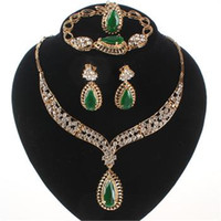 Wholesale Wedding Accessories Women Bridal k Gold Plated Gem Crystal Necklace Bracelet Ring Earring Jewelry Sets Colors
