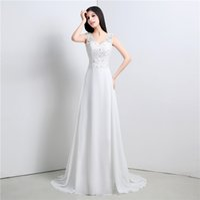 beach model photos - Beach Wedding Dresses Real Photos White Elegant V Neck Cheap Backless Chiffon Appliques Bridal Gowns