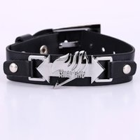 Wholesale Cosplay Bracelet Fairy Tail Black Leather Bracelets Fashion Anime Punk Gifts for Men Pulseras Hombre Armbanden
