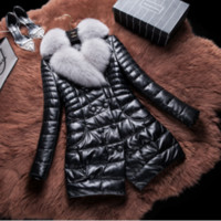 Wholesale New Winter Real Leather Duck Down Jacket Women Warm Long Coat Parkas Female Fox Fur Collar Clothes High Quality Outwear