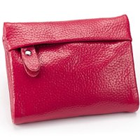 Wholesale high quality fashion cowhide leather key wallet keychain coin purse for women ladies colors hot sale