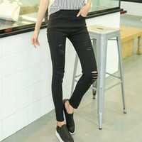 Wholesale 2016 Cotton High Elastic Imitate Jeans Woman Knee Skinny Pencil Pants Slim Ripped Boyfriend Jeans For Women Black Ripped Jeans