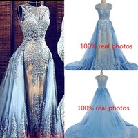 Cheap 100 Real Photos Elie Saab Formal Evening Dresses Sheer Neck Lace Appliques With Detachable Train Sky Blue 2016 Prom Special Occasion Gowns
