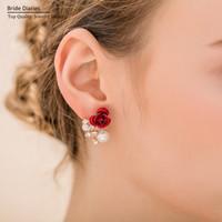 Wholesale red rose flower earrings for women Brides retro married Stud Earrings simulated pearl earrings for women