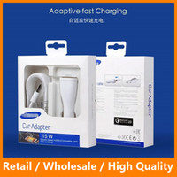 Wholesale 2 in Original Adaptive Fast Charging Rapid Car Charger M Cable for Samsung s6 s7 edge Note with Retail Packing