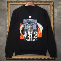 alphabet sweater - Fall and winter trends in Europe and the United States three new fight Jesus flame printed sweater alphabet digital five star men and wome