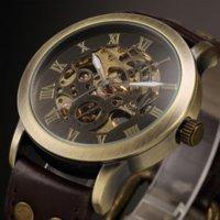 Vintage mens de bronze montres Retro Skeleton Steampunk Casual Montres Cuir Sport Montre Automatique Mécanique reloj hombre