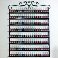 Wholesale 8 Layers Metal Frame Nail Polish Display Wall Rack stand Cosmetics Shelf perfume holder Fit Up To Black