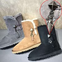 australian work boots - Winter Boots Australian Designer Snow Boots Genuine Leather Women Metal Pendant Decoration Warm Boots for women
