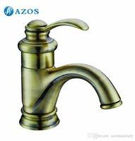 Wholesale AZOS Bathroom Basin Tap Brass Green Color Single Hole Deck Mount Hot Cold Mixer Toilet Sink Faucet Furniture Replacements MPDKZ048L