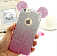 ear covers - Popular D Mickey Mouse Ears TPU Soft Glitter Cover Case Gradual Change Color With Hang rope phone cases for iPhone S S Plus