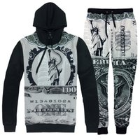 Wholesale men women sport hip hop suits Statue of Liberty D print fashion tracksuits sweatshirt Hoodies pants set emoji joggers