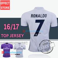 uniform shirts - 2017 Top Quality Real madrid soccer Jerseys Uniforms RONALDO Home White Away Puple JAMES BALE RAMOS ISCO MODRIC Spain Football Shirts
