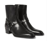 almond boots - Man Fashion Slp Classic Wyatt Harness Boots In Black Leather Personalized Men s Martin Boots Cowboy Boots