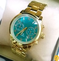 auto calendars - 2016 New Fashion Calendar Green Dial Earth Series Hours Full Stainless Steel Strap Luxury Quality Quartz Gold Watch For Women