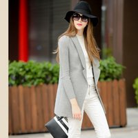 Wholesale New Designer Panel Winter Coat Fashion Grey Wool Trench Coats Slim Knit Long Sleeve One Button Jacket Outwear Overcoat FHF0831