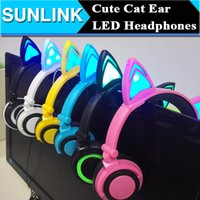 apple laptop music - Portable Cat Earphone Glowing Cat Ear Headphones Gaming Headset Music Player With LED Light For PC Laptop Mobile Phone MP3