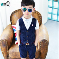 western suits - 2016 summer new boys dress suit Western style fashion fake two British children vest two piece high quality dresses boys