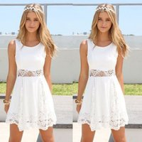 Wholesale Boho Short Mini Dresses Ladies Summer Beach Party Sundress Dresses Womens Sexy Dress Ladies Cocktail Evening Dress Sexy Chiffon Clothing