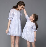beautiful vintage clothing - New Summer Girl s Dresses Beautiful Parent child Clothes Vintage Family Dress Mummy Girls Short Sleeved Bow Jacquard Embroidery Dresses