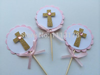 baptism cake topper - Pink and Gold Baptism Cupcake Toppers First Communion Confirmation Christening wedding party cake topper24pcs