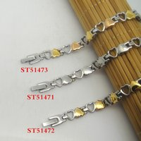 bar and plate - 316L New Style Fashion Stainless Steel Bracelet mm Link Chain Gold And Three Tone Plated Heart Design Jewelry Gift Promotion For Women