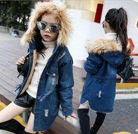 big hood coat - New winter Kids girls denim jacket children plus thick velvet jacket big virgin long warm coat for cold winter